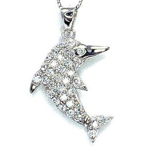 Sterling Silver 925 C.Z Dolphin Pendant & Chain